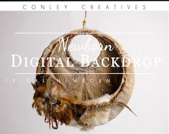 Newborn Digital Backdrop-Tribal Newborn Basket   Newborn Tribal   Native American Themed Digital Backdrop