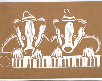 Jazz Badgers lino cut print