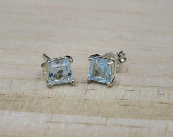 cdc0e3fcc Ross Simons Sterling Silver 5mm Blue Princes Cut Cubic Zirconia Stud  Earrings