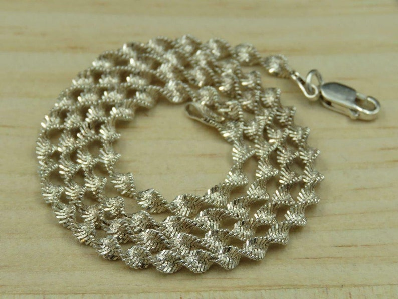 SA Italy Sterling Silver Diamond Cut 3mm Twisted Rope Necklace 18