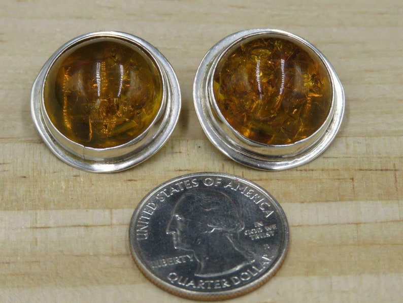 Vintage Mexico Sterling Silver Baltic Amber Dome Modernist Clip On Earrings
