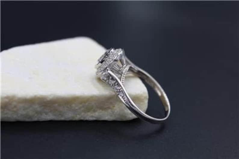 Designer Solid 14K White Gold 2ct Simulated Diamond White Topaz Halo Ring S 9.75