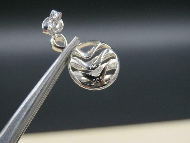 14K White Gold 0.8 DTW Diamond Circle Drop Earrings SGS