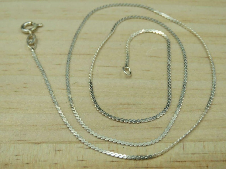Italy Sterling Silver 1mm Serpentine Chain Necklace 18 25