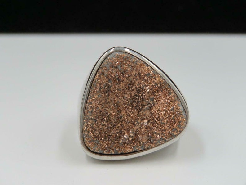 Stainless Steel Bronze Druzy Quartz Statement Ring Sz 10.25 QVC