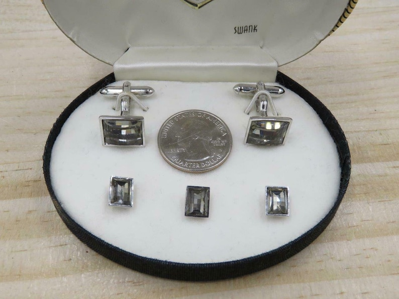 Vtg SWANK Sterling Faceted Smoky Glass Formal Wear Cuff Links and Shirt Studs