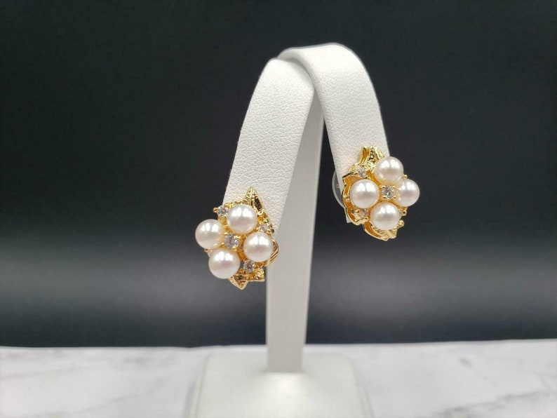 A and Z Yellow Gold Plated Freshwater Pearl CZ Cluster Earring Pendant Set