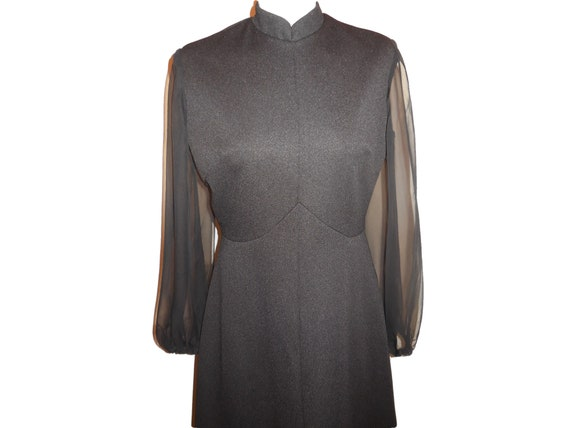 1960s Vintage Maxi Dress Lady Carol Black Long Sl… - image 3