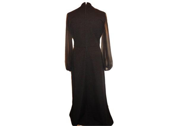 1960s Vintage Maxi Dress Lady Carol Black Long Sl… - image 2