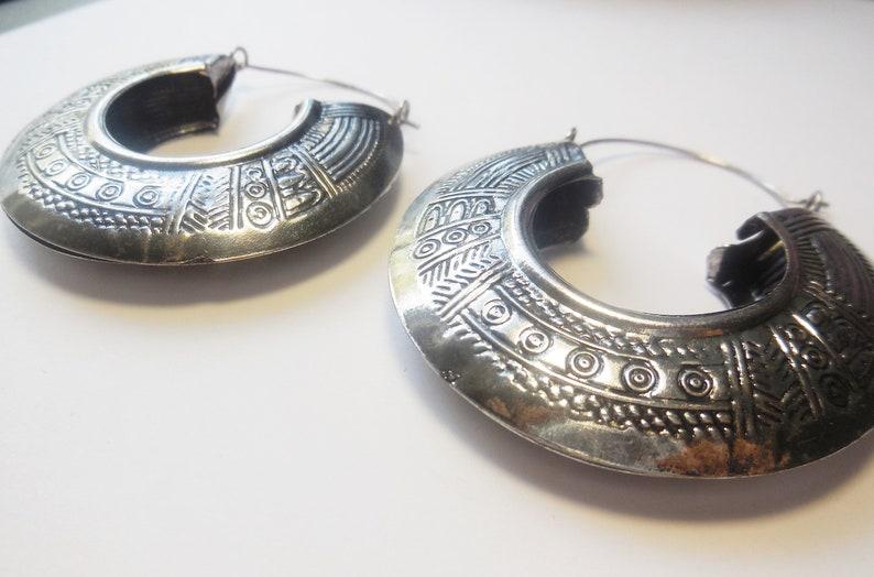 Hoop Earrings textured silver tone metal lightweight
