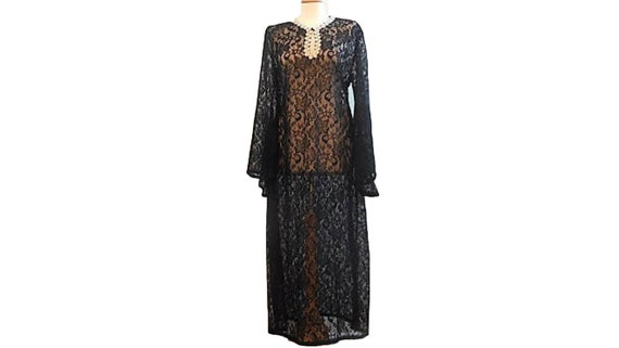Nightgown Black Lace Lingerie Sheer Tunic Robe Dre
