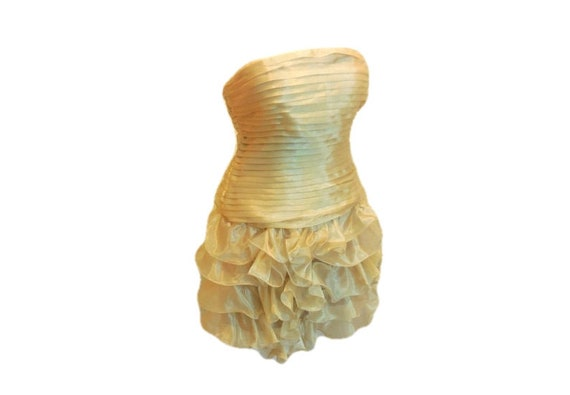 Dress Strapless Ruffled Gold Organza Sheer