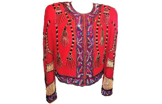 1980s Vintage Jacket Laurence Kazar Beaded Sequins