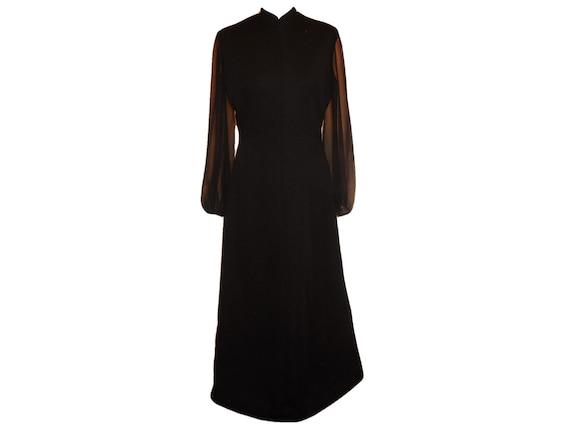 1960s Vintage Maxi Dress Lady Carol Black Long Sle