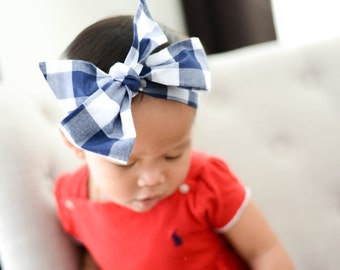 Blue Check Headwrap - Head Wrap - Baby Headwrap - Blue Check Hair Bow