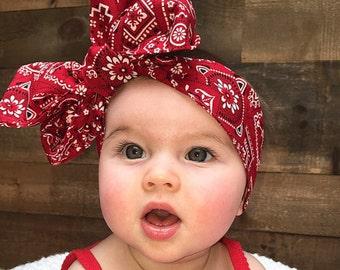 Red Bandana Headwrap - Bow Headwrap - Red Bandana Head Wrap - Red Headwrap - Baby Headwrap