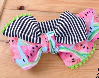 Watermelon Stripe Headwrap - Bow Headwrap - Head Wrap - Baby Headwrap - Hair Bow