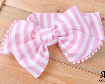 Pink Stripe Headwrap - Bow Headwrap - Head Wrap - Baby Headwrap - Hair Bow