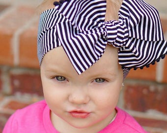 Black and White Stripe Headwrap - Bow Headwrap - Striped Head Wrap - Baby Headwrap