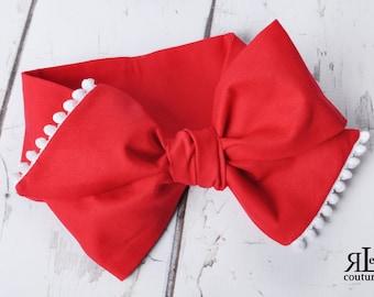 Red Headwrap -  Bow Headwrap - Red Head Wrap - Red Headwrap - Baby Headwrap