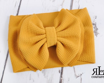 Mustard Baby Toddler Girl Bow Hair Accessory Cotton Bow Mustard Yellow Fall Colors Nylon Headband or Clip on Oversized Big Bow Knot