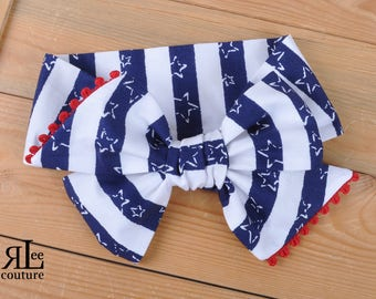 July 4th Headwrap - Bow Headwrap - Head Wrap - Baby Headwrap - Hair Bow