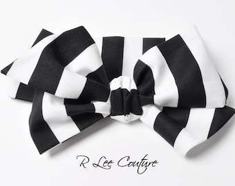 Black and White Stripe Headwrap - Bow Headwrap - Head Wrap - Baby Headwrap - Hair Bow