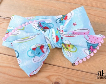 Tea Party Headwrap - Bow Headwrap - Head Wrap - Baby Headwrap - Hair Bow