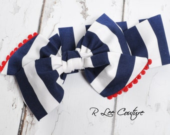 Navy Stripe Headwrap - Bow Headwrap - Head Wrap - Baby Headwrap - Hair Bow
