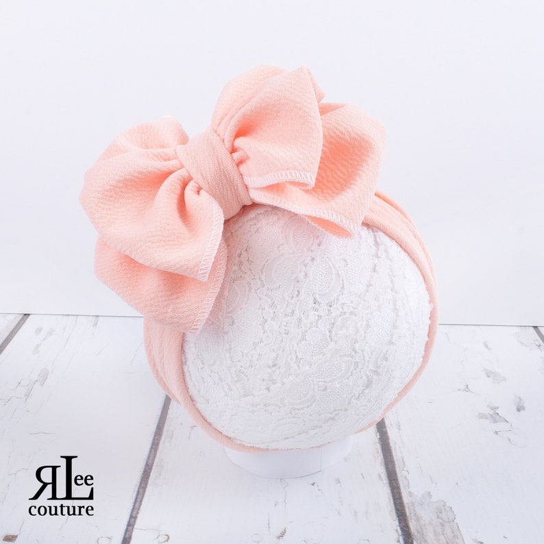 Peach Bow  Peach Headwrap  Peach Bow  Baby Bow  Girls Bow image 0