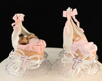 Baby Girl Christening Cake Topper / Decoration
