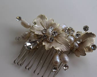 Flower with Rhinestone Hair Clip, Wedding, Flower Girl, Hair Piece