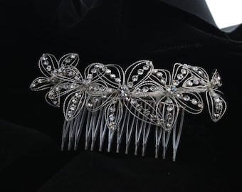 Bridal Flower Rhinestone Hair Comb