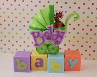 African American Baby Stroller Cake Topper Decoration