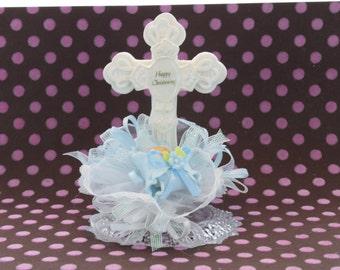 Baby Boy Christening topper / Cross Baptism topper / Baby Boy Cross / Blue Cross topper / Baptism Cake / Baby Boy