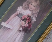 Victorian Sweet Little Girl White Dress Blue Sash Pink Shoes Blonde Hair Holding Roses Letter Painted by Charles Trevor Garland Decor