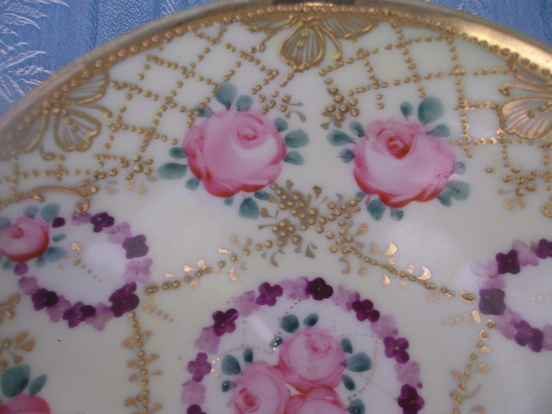 Vintage Rice Bowl Very Heavy Gold Moriage Trim Pink Roses Green Leaves Lavender Purple Floral Rings Small Pedestal Rim Beaded Collectible