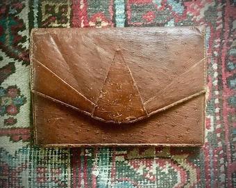 1930s ostrich leather clutch / large, multi-pocket / Deco design