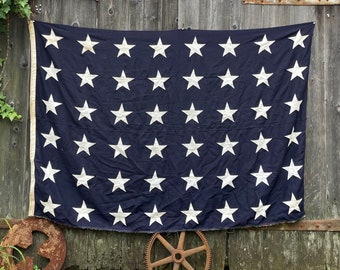 Large Antique American flag 48 star canton ww2 US Navy FREE SHIPPING
