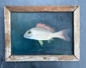 Antique folk art painting of fish on board in rustic frame. 1940.