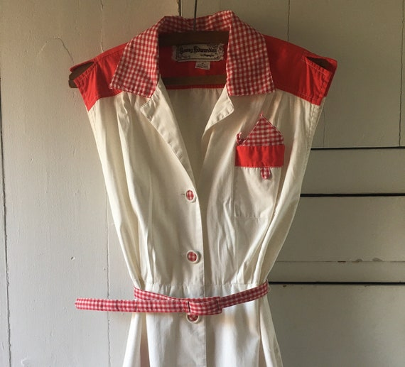 1950s red gingham and eyelet cotton dress