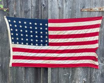 Rare antique 48 star American nautical flag Circa 1912. Canvas Nice vintage nice fade