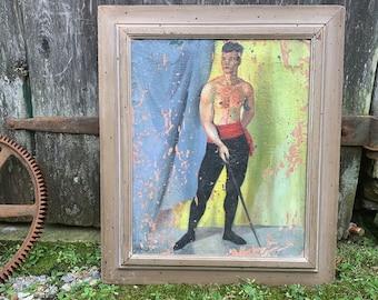 """Beautiful Modern semi nude 1930's  oil on board male nude. 22""""x18"""""""