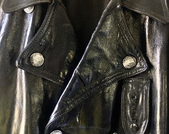 1960s Philadelphia Mounted Police Double-breasted Leather Coat