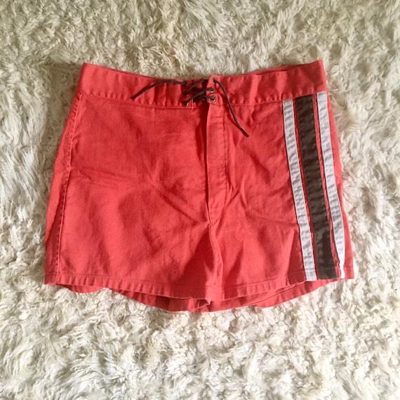 1950s cotton striped board shorts