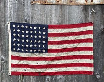 Rare antique 48 star American nautical flag Circa 1912. WOOL. ALL SEWN.