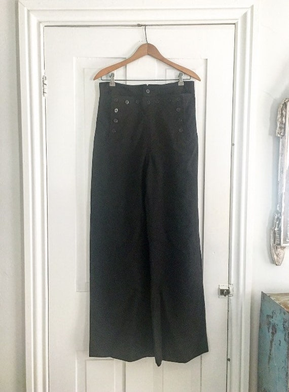 1940s black wool naval / sailor pants