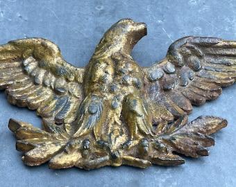 Fantastic Antique cast iron eagle architectural element in old gold paint