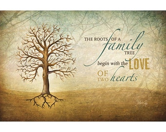 MA225   The Roots Of A Family Tree Begin With The Love Of Two Hearts /  Textured, Finished Wall Decor Ready To Hang By Marla Rae