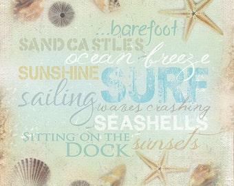 MA594A - Ocean Breeze, Ocean / beach word art. / Textured, finished wall decor ready to hang by Marla Rae